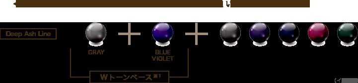 <補色のグレイとブルーバイオレットに、深く濃い色味をブレンド>